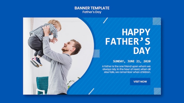 Father's day dad playing with son banner template