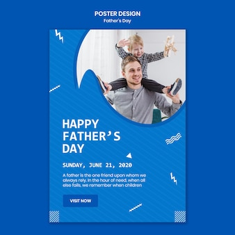 Father's day dad playing with son poster template