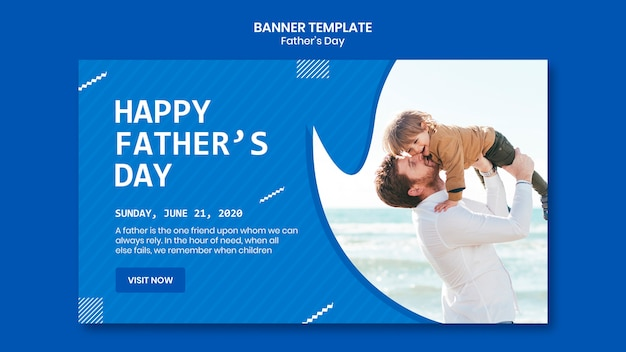 Father's day dad and son at the beach banner template