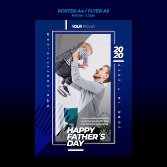 Father's day flyer template with dad and son