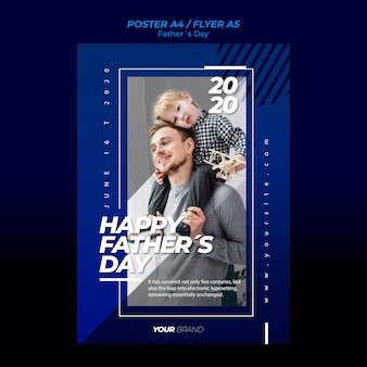Father's day flyer template with father and child