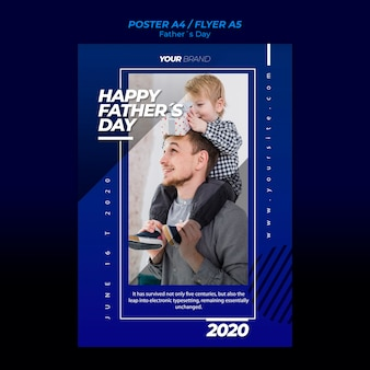 Father's day poster template with father and child