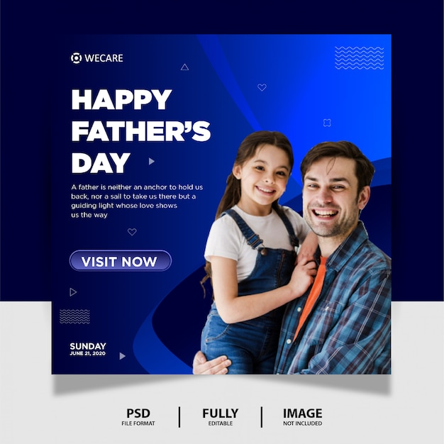 아버지의 날 소셜 미디어 게시물 배너 디자인