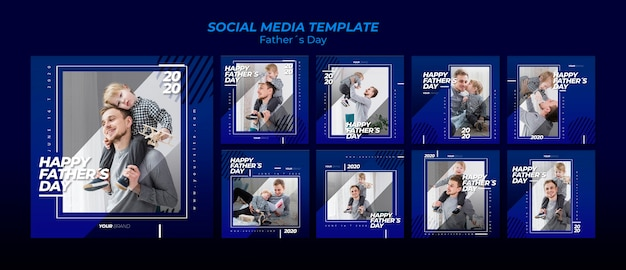 Father's day social media post template collection