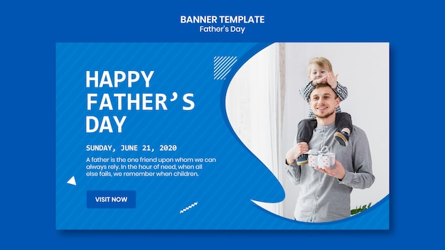 Father's day with child banner template