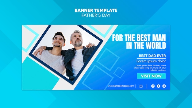 Father and young adult son banner template