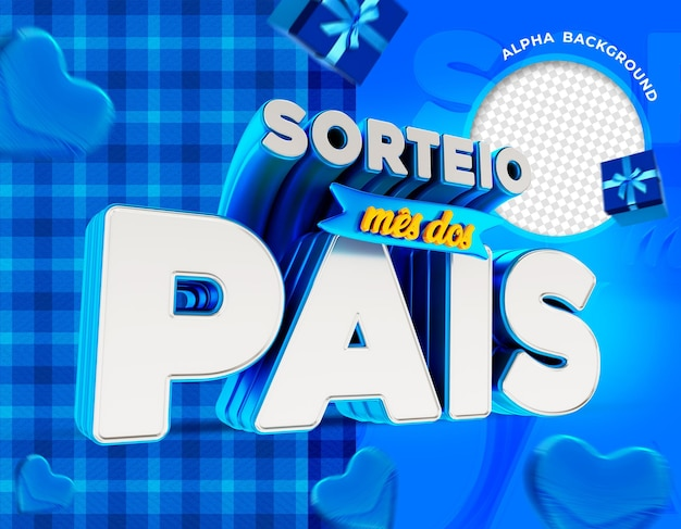 Fathers banner month draw in brazil 3d render for composition