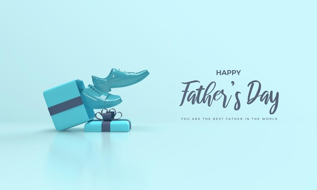 Fathers day 3d render with gift box and blue shoes