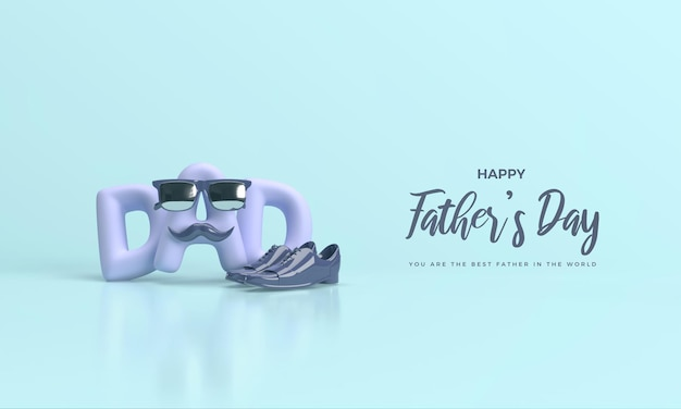 Fathers day 3d render with illustration of luxury shoes