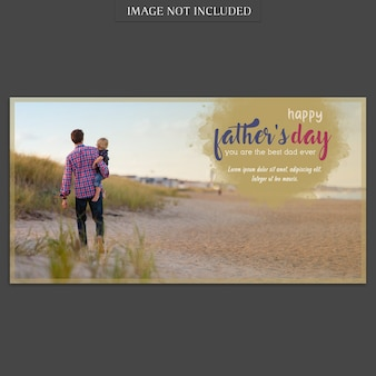 Fathers day banner cover mockup at beach