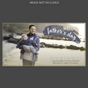 Fathers day banner cover mockup at the beach