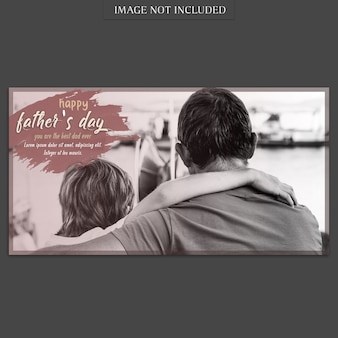 Fathers day banner cover mockup in retro style