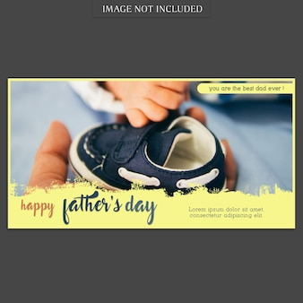 Fathers day banner cover mockup with small shoe