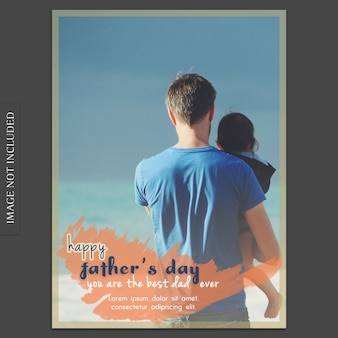 Fathers day cover mockup with dad and son looking towards sea