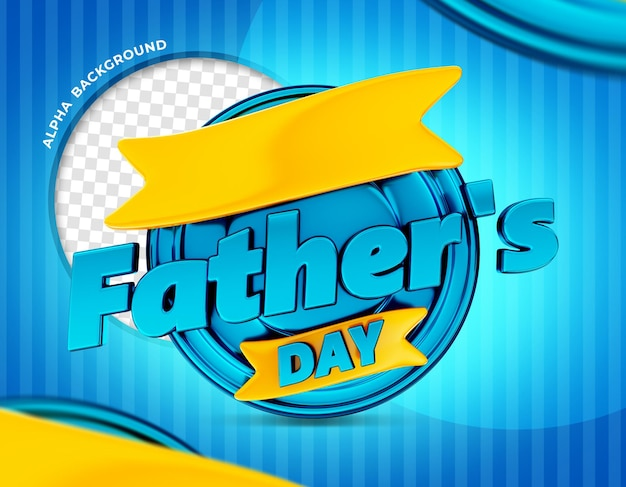 Fathers day logo 3d render