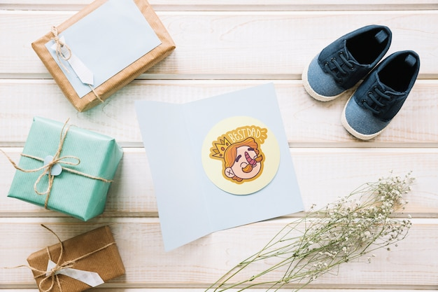 Fathers day mockup with card