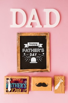 Fathers day mockup with slate above present boxes