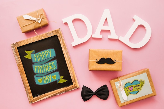 Fathers day mockup with slate and gift boxes