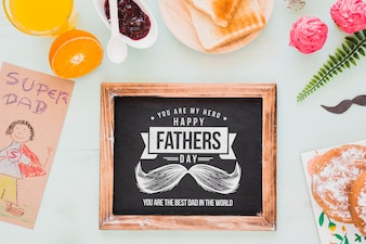 Fathers day mockup with slate