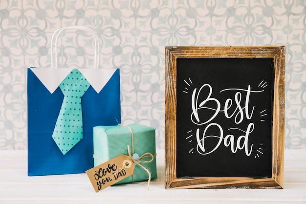 Fathers day mockup with slate