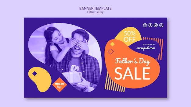 Fathers day promotional sale banner template