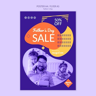 Fathers day promotional sale poster template