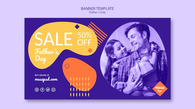 Fathers day sale banner template concept