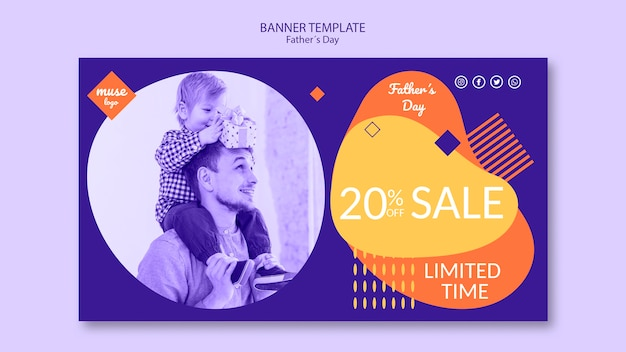 Fathers day sale banner template design