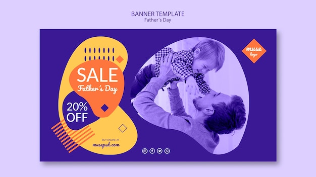 Fathers day sale banner template theme