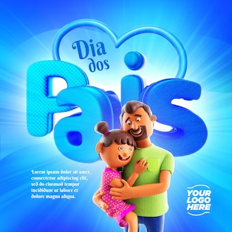 Fathers day social media template 3d element illustration father and daughter hugging each other