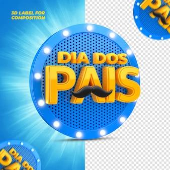 День отца с синим подиумом для бразильских кампаний 3d визуализации
