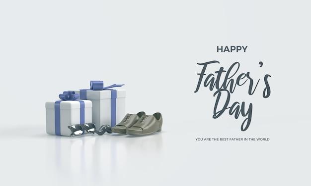 두 개의 선물 상자와 3d 신발이있는 아버지의 날