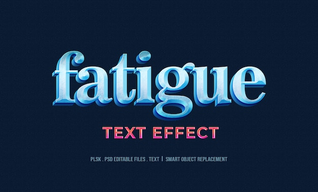 Fatigue 3d text style effect mockup