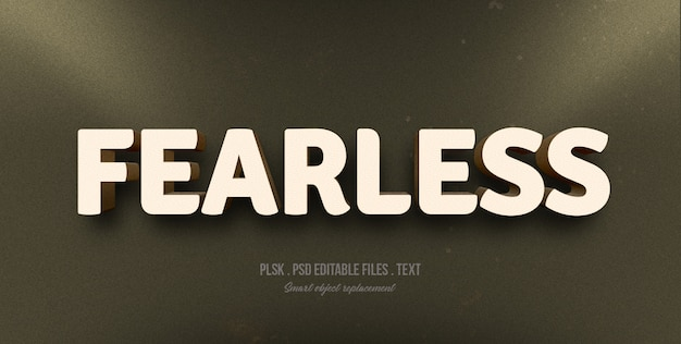 Fearless 3d text style effect mockup