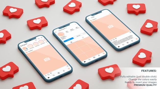 Feed, profile and post instagram interfaces mockup with phones surrounded by like notifications. 3d rendering