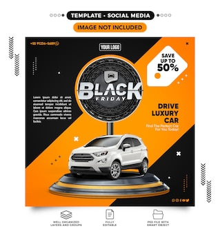 인스타그램 포스트 소셜 미디어 피드 자동차 렌트를 위한 블랙 프라이데이