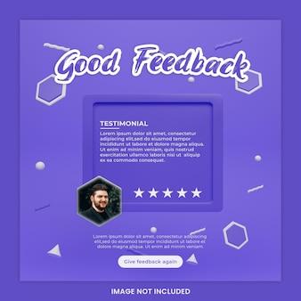 Feedback concept template design and testimonial social media instagram post template premium psd