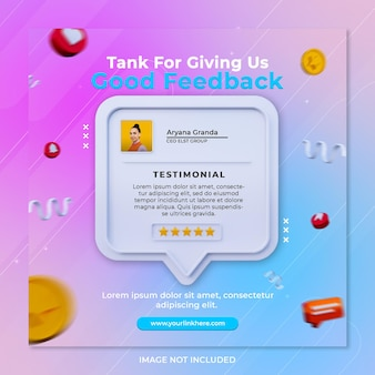 Feedback review and star rating for social media post instagram template
