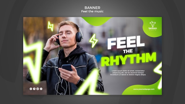 Feel the music concept banner template
