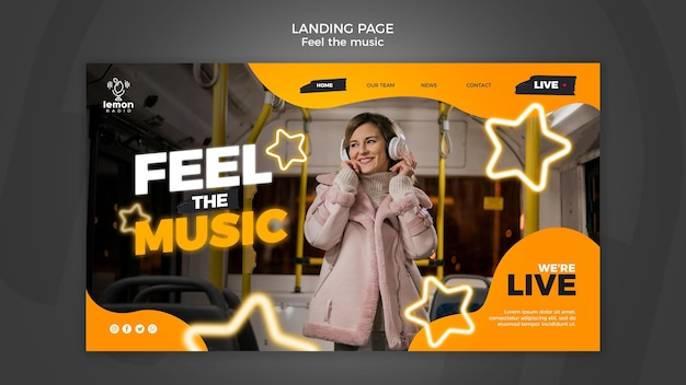 Feel the music concept laning page template