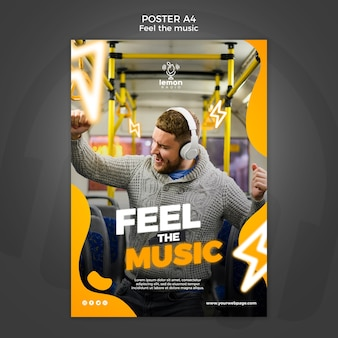 Feel the music concept poster template