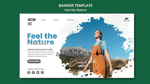 Feel the nature banner template Free Psd