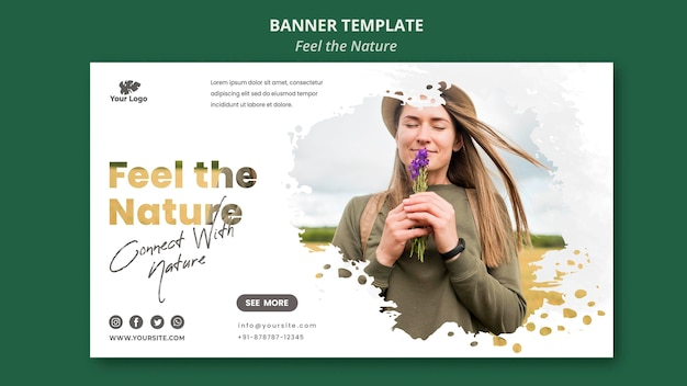 Feel the nature horizontal banner template