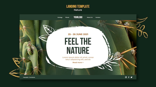 Feel the nature landing page template Free Psd