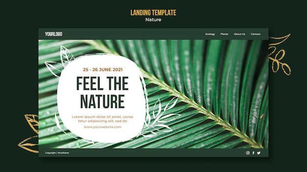 Feel the nature landing page