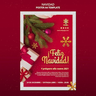 Feliz navidad flyer template with presents