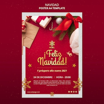 Feliz navidad flyer template