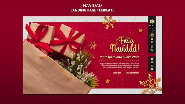 Modello di pagina di destinazione feliz navidad Psd Gratuite