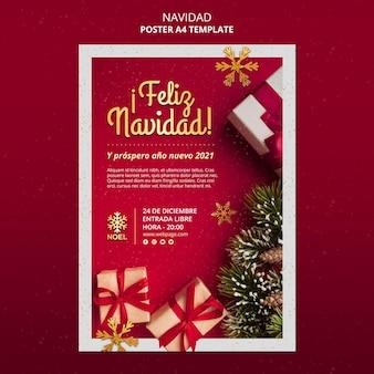 Modello di poster feliz navidad Psd Gratuite