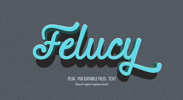 Felucy 3d text style effect mockup